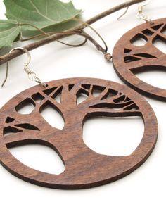 Tree of Life Earrings - Laser Cut Wooden Hoops - Sustainable Harvest Wisconsin Black Walnut Wood . Timber Green Woods. $15.95, via Etsy.