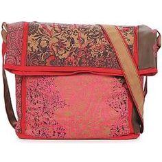 Desigual Bolsas IBIZA TRICOLOR.  Esta mala messenger rosa é perfeita para levar para a praia ou para um passeio à beira-mar, não acham?