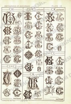 Monograms CH through CL - page scan from vintage monogram book. $5.00, via Etsy.