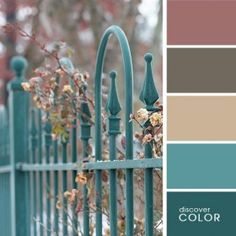 Gardening Autumn - turquoise fence - With the arrival of rains and falling temperatures autumn is a perfect opportunity to make new plantations Scheme Color, Colour Schemes, Color Combos, Colour Palettes, Shades Of Turquoise, Shades Of Blue, Turquoise Color, Color Blue, Design Seeds