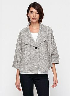 This is super versatile.  Must have!  3/4-Sleeve A-Line Jacket in Cotton Herringbone Stretch