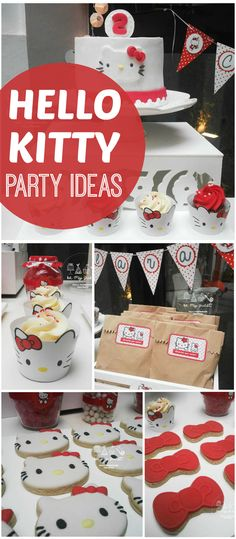 How adorable is this red and white classic Hello Kitty party?! See more party ideas at CatchMyParty.com!