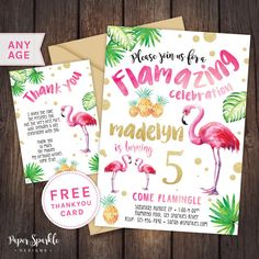 Flamingo uitnodiging Flamingo partij door PaperSparkleDesigns