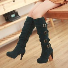Amazing Green Suede Zipper Round Closed Toe Stiletto High Heel Boots
