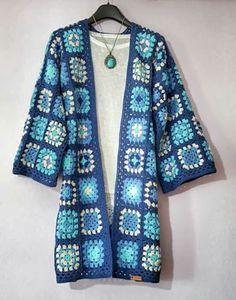 Items similar to Handmade Patchwork Crocheted Spring/Autumn Coat / Jacket / Cardigan - Cotton on Etsy Crochet Basket Pattern, Granny Square Crochet Pattern, Crochet Squares, Crochet Granny, Crochet Patterns, Crochet Coat, Crochet Jacket, Crochet Cardigan, Crochet Clothes