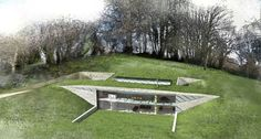 'LOM architecture and design' house in Devon'. It is 350 square metres and has a green roof, a triple-glazed primary facade with solar shading, geothermal and waste air heat reclamation, rainwater storage and grey water recycling systems.    Section and floor plans at: http://www.lom-fdp.com/lom/pdf/compile/0123.pdf