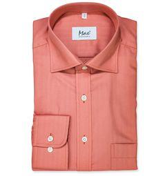 Modern Fit polopriliehavá košeľa Hnedočervená jednofarebná 100% bavlna Rybia kostra (keper)