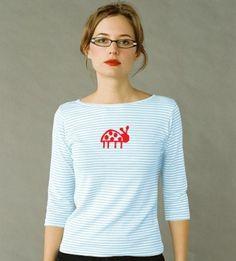women's striped boatneck: Ladybug (blue/red)