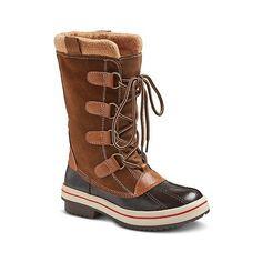 Women's Noelle Winter Boots - Tan ($40) ❤ liked on Polyvore featuring shoes, boots, tan, winter boots, tan boots, tan shoes, target boots and target shoes