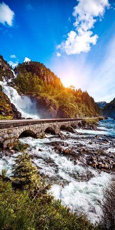 Latefossen Waterfall, Odda Norway