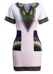 Split Neck Dashiki Print Black Dress on sale only US$23.44 now, buy cheap Split Neck Dashiki Print Black Dress at lulugal.com