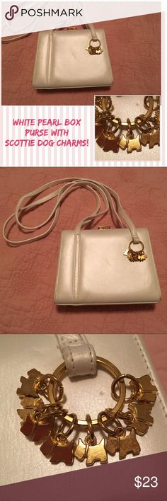 """White Box Shoulder Bag with Scottie Dogs - so cute White with a very slight pearlescence. Box Shoulder Bag measures 8x6x3"""" with a 20"""" strap drop. Best part are all the tiny gold Scottie dogs - it's actually a removable key chain, but why would you? Maker is """"High Fashion Canada"""". Excellent condition with a few minor indentations - you may me able to massage these out. high fashion Canada Bags Shoulder Bags"""