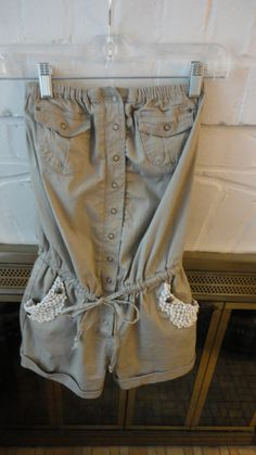 One Piece Short Rompers | Upcycled One Piece Taupe Cotton Romper Shorts with Lace Trim and ...