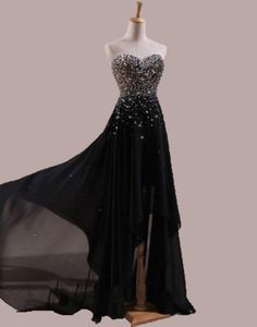 Vestido De Festa Black Prom Dresses 2015 Chifon A Line Beaded Sequined  Stunning Hi Lo Prom Party Gowns Dress For Women Formal-in Evening Dresses  from ... 55dfd4dba36b