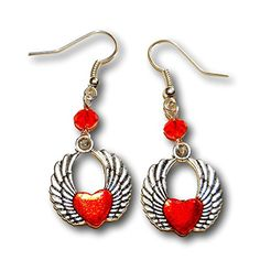 You give my heart wings, with crystals - Earrings - http://robsemporium.com/product/you-give-my-heart-wings-earrings-with-crystals-1/