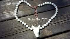 Wolf necklace Hemimorphite wolf gemstone choker with