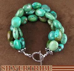 Navajo Indian Jewelry Genuine Sterling Silver And Turquoise Jewelry Bead Bracelet - love the colors...