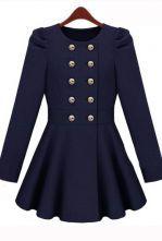 Beige Pleated Long Sleeve Buttons Ruffles Coat - Sheinside.com