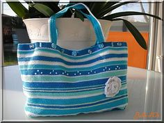 crochet stripey blue bag