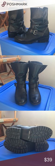 DV Dolce Vita Motorcycle Boots sz 10 These have been one of my favorite go-to everyday boots - so comfortable!!! Black, vegan leather. Size 10. Some cuff marks on one (see the last picture). Keywords: motorcycle moto bike booties combat DV by Dolce Vita Shoes Combat & Moto Boots