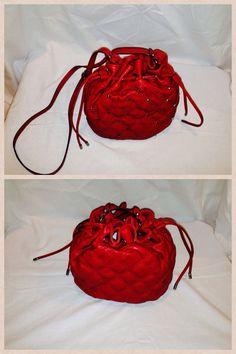 "Nine West Dark Red 30"" high X 8"" long Studded Drawstring Bag.  Starting bid $20"