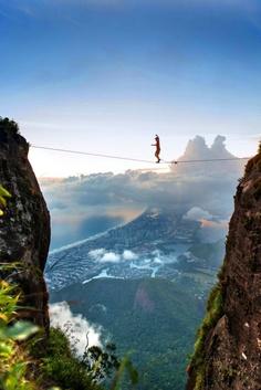 tightrope walking above Rio de Janeiro