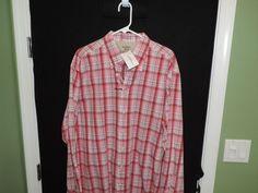 Gant Classic Rugger Big Man Designer Red Plaid L/S Shirt SZ 2XL NWT Quick Ship  #Gant #ButtonFront