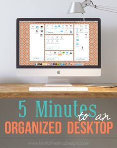 Is your Computer Desktop a MESS? Use the Desktop Organization Backgrounds to clean it up in less than 5 minutes! Simple and Easy! A simple project to organize your office space.