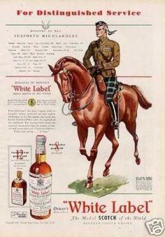 white label scotch whisky vintage ad | Dewar's Scotch Whisky Ad Seaforth Highlanders (1939)