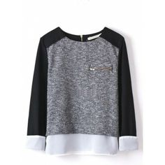 Ladies' Spliced patchwork Knitted Pullovers stylish Casual Slim shirts Zipper Pocket O-neck winter Tops black and grey white Just look, that`s outstanding! Visit our store Matching Sweaters, Moda Do Momento, Winter Tops, Loose Sweater, Pullover, Blazers, Black Blouse, Pulls, Trendy Fashion