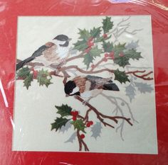 Holly Tree Chickadees Cross Stitch Kit by The by wanderlostvintage