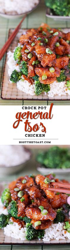 Crock Pot General Tso's Chicken. Tastes even better than the take-out version and cuts a lot of the calories, to boot! Crock Pot Slow Cooker, Crock Pot Cooking, Slow Cooker Recipes, Crockpot Recipes, Chicken Recipes, Cooking Recipes, Healthy Recipes, Chicken Ideas, Pollo Kfc