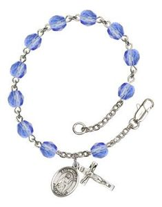 St. Grace Silver-Plated Rosary Bracelet with 6mm Saphire Fire Polished beads
