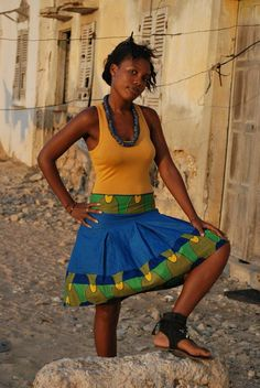 Handdyed blue cotton skirt with African wax print by traintobamako, $65.00