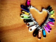 Charm bracelet made with zippers