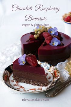 Chocolate Raspberry Bavarois (vegan & grain-free) - Nirvana Cakery