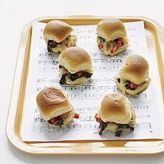 Rockin' Karaoke Party: Cheesesteak Sliders: Make music, not messes! Serve Mini Cheesesteak Sliders on trays lined with sheet music.