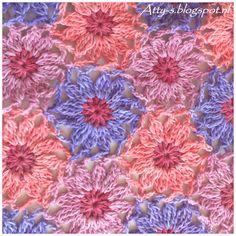 Atty's : Sunkissed Bloemen Patroon, gratis patroon, Nederlands en tutorial, #haken, sjaal, stola, omslagdoek, sprei, deken
