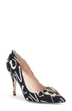 "Free shipping and returns on kate spade new york 'lava' pump (Women) at Nordstrom.com. <p><B STYLE=""COLOR:#990000"">Pre-order this style today! Add to Shopping Bag to view approximate ship date. You'll be charged only when your item ships.</b></p><br>A curvaceous topline lends a touch of retro allure to a knockout pump in kate spade's signature Love print. A gilded heart ornament embellishes the sultry pointy toe."