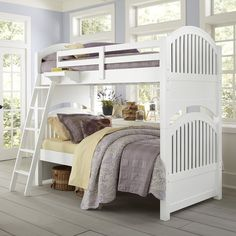 $960; No matter if it is in a home by the lake, the shore in the country or the city, this Bunk simply fits them all. The stately arches and wide-plank spindles are set between substantial posts. This Bunk has the style to transition with your child and family through time. This bunk breaks down into two twin beds.