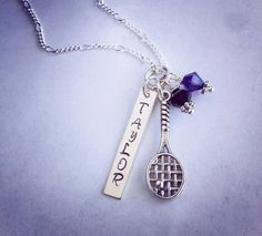 Sporty Girl Tennis Personalized Hand Stamped Name Necklace on Etsy, $22.00