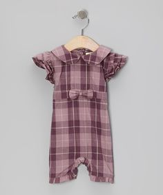 Purple Plaid Collar Organic Romper - Infant   Daily deals for moms, babies and kids