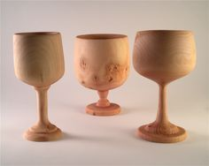 Trio of Goblets - Sycamore Wood.  To see more of my woodturning visit www.carmendelapaz.com