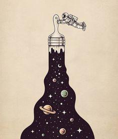 Nello spazio insieme a Buko, illustrazioni galattiche Space Drawings, Cool Art Drawings, Pencil Art Drawings, Art Drawings Sketches, Drawing Ideas, Tattoo Sketches, Tattoo Drawings, Galaxy Painting, Galaxy Art