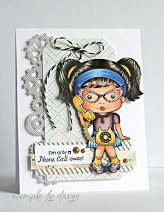From our Design Team!  Card from Joy Taylor featuring Telephone Marci and Steampunk Border Die. Shop for our products here - http://lalalandcrafts.com. Coloring details and more Design Team inspiration here - http://lalalandcrafts.blogspot.ie/2014/08/inspiration-monday-tags-andor-tickets.html
