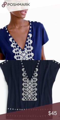 J.Crew NWT Navy Short Sleeve Top NWT! Cute Navy Top with White Embellishment. 100% Cotton J. Crew Tops Tees - Short Sleeve