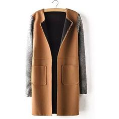 Lapel Fur Stitching Pockets Long Edition Korea Style Worsted Solid... ❤ liked on Polyvore featuring outerwear, coats, long brown coat, long lapel coat, long fur coat, pocket coat and fur collar coat