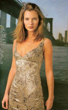 Kate Moss by Steven Meisel for Vogue US, July 1997, photographed in NYC in front of the Brooklyn Bridge