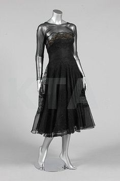 Maggy Rouff couture black guipure and organza evening gown, circa 1953, Kerry Taylor Evening Gown