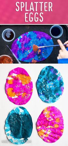 This technique for creating a unique kids' Easter craft is great for children in preschool and kindergarten.  Loop your eggs together to make a spring garland or hang them in your window as a sun catcher!  #easteregg #eastereggcraft #eastercraft #kidseastercraft #kidscraft #splatterpainting #preschool #kindergarten #preschoolcraft #kindergartencraft #coffeefiltercraft #eastereggtemplate #eggtemplate #finemotorskills #watercolours #watercolors #liquidwatercolours #eastergarland #easter